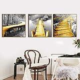 ganlanshu Puente Blanco Dorado Que Conduce a la decoración del hogar tríptico de Lona de Arte de Pared de Bosque Negro,Pintura sin Marco,60X60cmx3