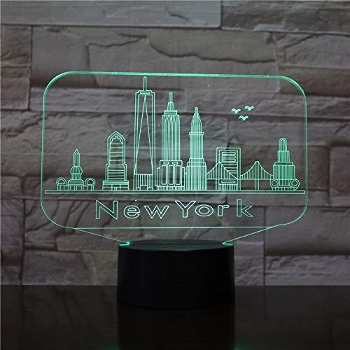 Año nuevo Regalo de Navidad Ciudad de Nueva York Usb 3d LED Bombilla de luz nocturna Edificio famoso Lámpara de mesa Mesita de noche Lámpara inteligente tridimensional colorida