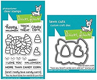 Lawn Fawn Clear Stamp & Die Set - How You Bean? Candy Corn Add-On - Two Item Bundle
