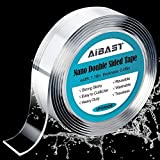 Double Sided Tape, AiBast 20FT Double Sided Adhesive Tape Nano Tape Strong Double Sided Tape Heavy Duty Traceless Double Sided Tape for Walls Picture Hanging Tape Removable Fix Carpet