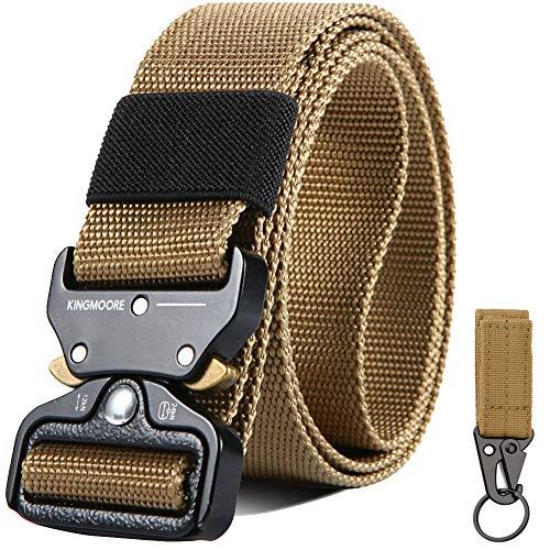 "KingMoore Mens Tactical Belt, Military Style Webbing Riggers Web Gun Belt with Heavy-Duty Quick-Release Metal Buckle (Waist:42""-46"", Khaki)"