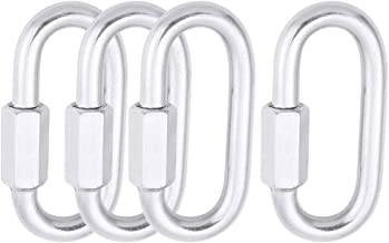 AOWISH 4-Pack Stainless Steel SS Oval Locking Carabiner 5/16