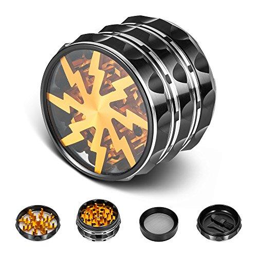 icxox Grinder Pro 63mm 4 pezzi Nuovo Design Alluminio Premium Spezie Erbe Grinder con Polline...