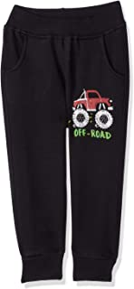 Bella Cotton BCW122P Printed Side Pocket Ribbed Trim Elastic Waist Sweatpants for Boys - Black, 24 Months