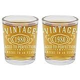 2 vasos de chupito vintage de 1980 grabados 2.5oz – 40 cumpleaños envejecido a la perfección – 40 años regalos