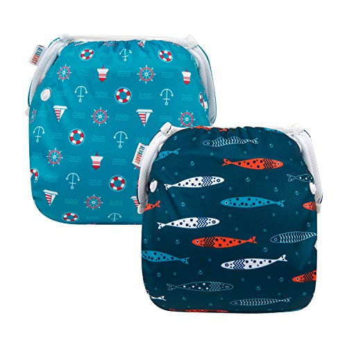 ALVABABY Baby Swim Diapers 2pcs Reuseable Washable Adjustable for Swimming Lesson Baby Shower Gifts 0-2 Years YK56-57