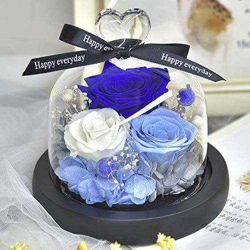 FICI Rose Kunstbloemen Fles Bruiloft Gedroogde bloemdecoratie In Glazen Deksel voor Valentijnsdag Verjaardagscadeau, J