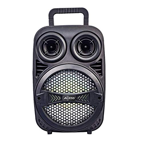 """AXESS 8''+1.5"""" Portable Bluetooth Speaker with Woofer & Tweeter – HD Sound System for Parties with Built-in LED Lights – Wireless PA Speaker"""