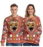 LIUYUNN Divertido Suéter con Estampado En 3D Gafas De Sol Punk Gato Navideño Suéteres Navideños Feos Suéteres Finos para Fiestas Sudadera con Capucha, XL