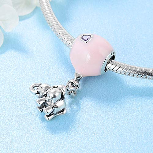 DASFF Mode 925 sterling zilver roze ballon met Dangle Elephant Charms Bead Fit Originele armband sieraden