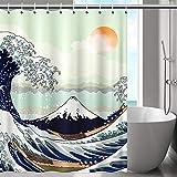 Gofupa Duschvorhang, strapazierfähiges Polyestergewebe, wasserdichter Stoff, Duschvorhang mit 12 Haken & rostwiderstandsfähigen Ösen für Badezimmer, Heimdekoration 71x71Inch cyan
