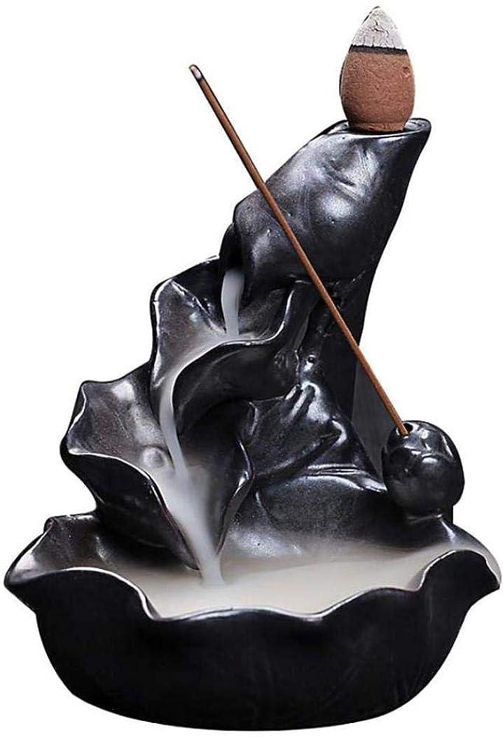 フランクワースリー急いでテレマコス香炉、逆流香ホルダーセラミックロータス葉香コーンコーンバーナー香スティックホルダー,Black
