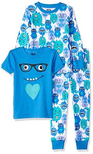 Spotted Zebra Girls' Kids Snug-Fit Cotton Pajamas Sleepwear Sets, 3-Piece Monsters, Medium