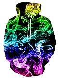 ALISISTER Unisex 3D Druck Hoodie Kapuzenpullover Personalisiert Buntes Rauchen Grafik Hooded Pullover Sweatshirt Herbst Winter Warm Slim Fit Kapuzenpulli mit Tasche XXL
