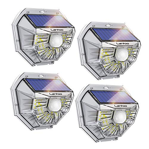 Solar Motion Sensor Light Outdoor, Lantoo 40 LEDs Solar Lights Outdoor, IP65 Waterproof Solar Security Decorative Wall Lights 270° Wide Angle for Step Stair, Yard, Path, Patio, Fence, Garage (4 Pack)