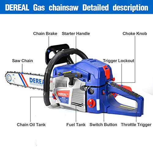 DEREAL Pro 58cc-Gas Chainsaw-20 Inch Bar Gasoline-Power Chain Saws 2-Cycle Automatic Chain Oiler Garden Tool for Trees Cutting Outdoor Home Farm Use