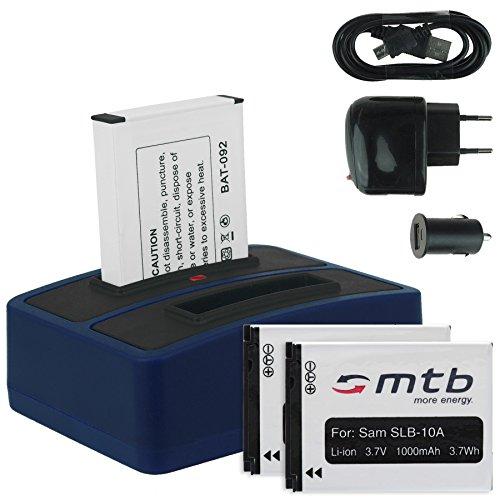 3X Akku + Dual-Ladegerät (Netz+Kfz+USB) für Samsung SLB-10A / Toshiba Camileo X-Sports/JVC Adixxion/Silvercrest/Medion Action Cam. s. Liste