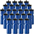 Sports Squeeze Water Bottle Bulk Pack - 24 Bottles - 22 oz. BPA Free Easy Open Push/Pull Cap - Made in USA (Blue)
