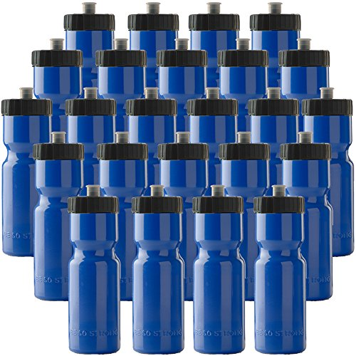 50 Strong Sports Squeeze Water Bottle Bulk Pack - 24 Bottles - 22 oz. BPA Free Easy Open Push/Pull Cap - Made in USA (Blue)