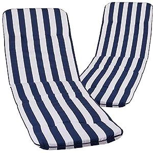 nxtbuy 2X Cojines para Tumbonas De Exterior Acolchado ' Capri' 193x60x5cm | Relleno De Espuma ÖkoTex100, Diseño:Blue & White MS08