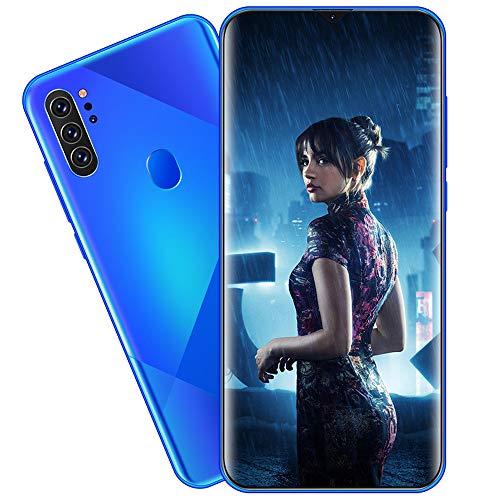 EDANQ Smartphones Desbloqueado M80 (8GB + 512GB) 6.7'HD teléfono móvil, con 13MP + 24MP AI teléfono Celular con cámara cuádruple Ultra Ancha, batería de Gran Capacidad 4800mAh Android 10,Azul