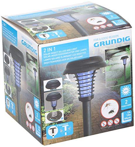 GRUNDIG LED Solarlampe & Insektenvernichter mit Erdspieß, Ø14xH43cm Solarleuchte Insektenfalle Gartenlampe Gartenleuchte Wegeleuchte