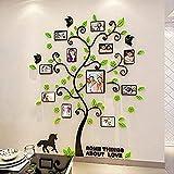 Alicemall Adesivi Murali Adesivo da Parete Wall Sticker in Acrilico Rimovibile a Forma di Albero con Rami Incurvati e Cornici Porta Foto Stile 2 Verde