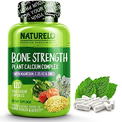 NATURELO Bone Strength - Plant-Based Calcium, Magnesium, Potassium, Vitamin D3, VIT C, K2 - GMO, Soy, Gluten Free Ingredients - Best Whole Food Supplement for Bone Health - 120 Vegetarian Capsules