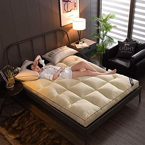 zyl Colchoneta para Dormir con colchón de futón colchoneta Plegable portátil y Transpirable Almohadilla de Piso de Tatami Japonesa Gruesa para Doble Individual (Color: Beige Tamaño: King: 180x20
