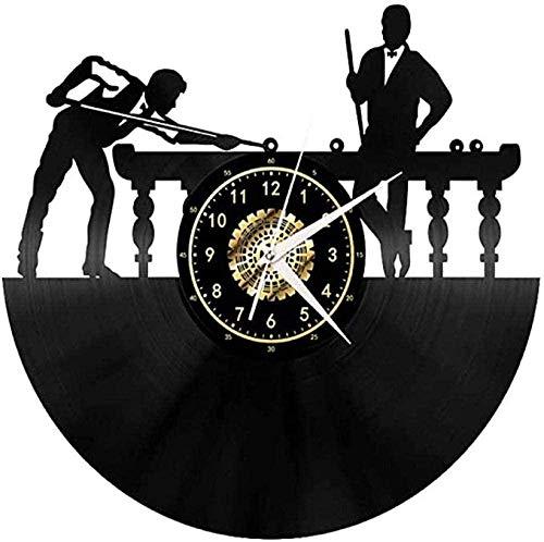 HYZDR Vinyl Wanduhr Billard Billardtisch Fan Art Dekoration Original Record Black Silent 12 Zoll Einzigartiges Geschenk für die Dekoration-Without Led