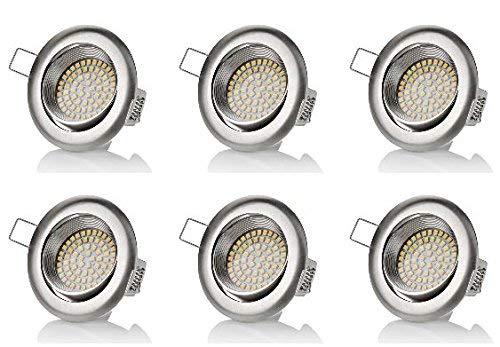 6 x stück sweet led® Flaches Design LED Einbaustrahler Flach | 350 Lumen | 3.5W | 230V | Edelstahl Optik | Rund - Eckig | Schwenkbar Einbauspots Einbauleuchten Einbau led (Warmweiß)