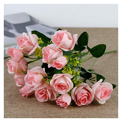 XIAOZSM Artificial Flowers 15 heads Rose Artificial Flowers Bride Silk Small Head (Color : Pink)