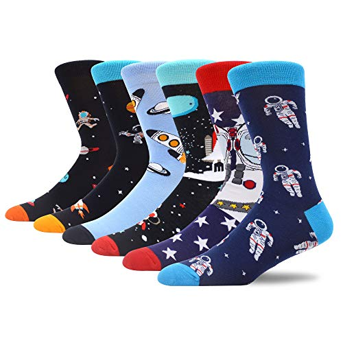 MAKABO Bunte Socken Herren Lustige Witzige Anzugsocken Männer Fun Gemusterte Verrückte Modische Beiläufig Geschenk Neuheit Crew Socken Platz Astronaut 6 Paare Größe 40-46