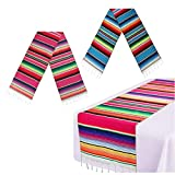 2 Pack Mexican Table Runner 14 x 108 Inches Serape Blanket Colorful Fringe Table Cloths Decor for Mexican Tribal Cinco de Mayo Fiesta Pool Party Outdoor Picnics Dining Wedding