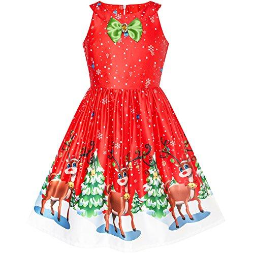 Sunny Fashion Robe Fille Rouge Noël Renne Neige Noël Arbre Partie 8 Ans