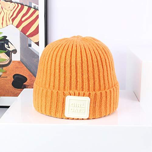 wtnhz Artículos de Moda Sombrero de Punto elástico con Etiqueta de Cuero Cosido Coreano de Tendencia de Color Caramelo Fresco pequeñoRegalo de Vacaciones