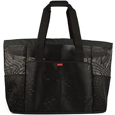 Oahu XXL Mesh Beach Bag Tote, Extra Heavy Duty with Zipper, 8 Large Pockets and FREE Bonus Waterproof Cellphone Case (Black)
