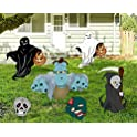 6-Pieces Halloween Witch Skeleton and Ghost Silhouette Yard Signs