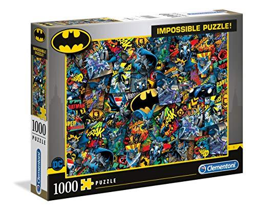 Clementoni 39575 Batman – 1000 Teile Impossible Puzzle, Geschicklichkeitsspiel für die ganze Familie, buntes Legespiel, Erwachsenenpuzzle ab 9 Jahren