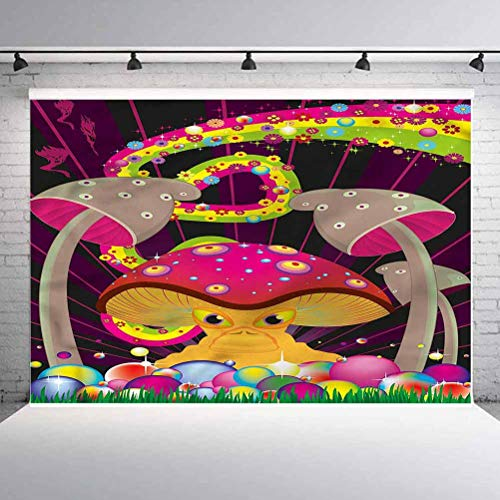 7x7FT Vinyl Photo Backdrops,Mushroom,Vibrant Psychedelic Theme Photo Background for Photo Booth Studio Props