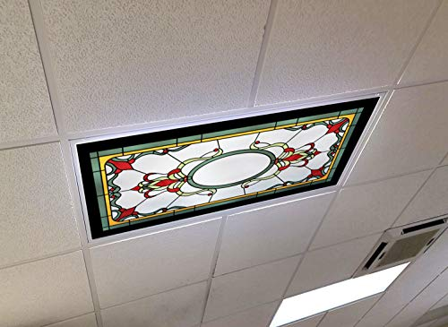Pool Pub Stained Glass - 2ft x 4ft Drop Ceiling Fluorescent Decorative Ceiling Light Cover Skylight Film