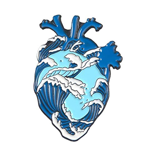 PCBDFQ Broche Pins Aangepaste Hart Walvis Broches Tas Kleding Lapel Pin Badge Blauw Zee Strand Vrijheid Sieraden