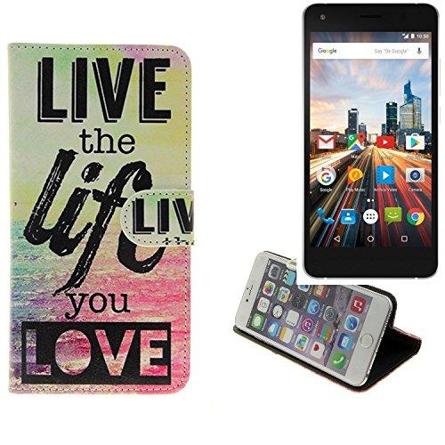 K-S-Trade® Schutzhülle Für Archos 50f Helium Lite Schutz Hülle 360° Wallet Case ''live Life Love'' Schutzhülle Handy Tasche Handyhülle Etui Smartphone Flip Cover Standfunktion (1x)