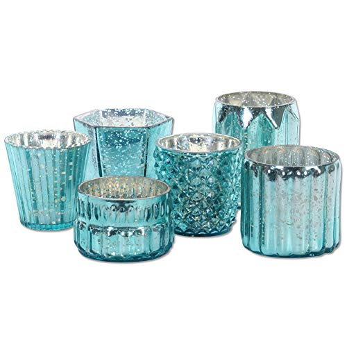Koyal Wholesale Mixed Aqua Blue Diamond Blue Mercury Glass Candle Holders, 6-Pack, Mismatched Candle Holders Candle Votives, Assorted Modern Geometric Decor, Quinceanera, Bridal Shower, Baby Shower
