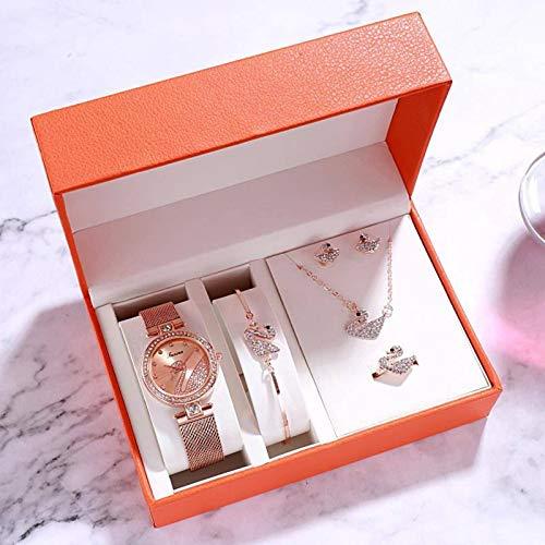 N-B Reloj de pulsera de cinco piezas de regalo para el día de San Valentín, trémolo, explosión y temperamento versátil.
