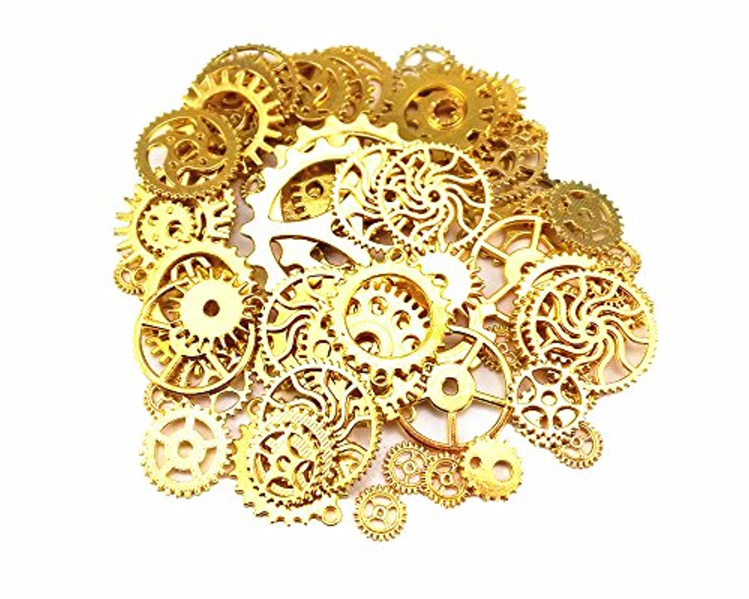 Yueton 100 Gram (Approx 70pcs) Antique Steampunk Gears Charms Clock Watch Wheel Gear for Crafting (Golden)
