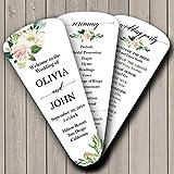 Wedding Program Petal Fans Assembled Set of 50 - Elegant Blush Floral Collection