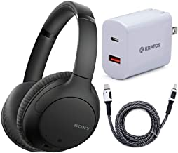 Sony WHCH710N Wireless Bluetooth Noise Canceling Over-The-Ear Headphones (Black) with Kratos 18W PD Two-Port Power Adapter...