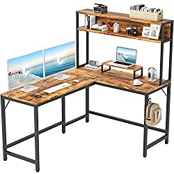 small CubiCubi L-shaped trap door desk, 59-inch corner computer table, home office gaming workstation …