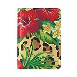 COOSUN Ibisco e Plumeria fiori tropicali con foglie di palma caso della copertura Porta passaporto in pelle leopardo Sfondo per Travel One Pocket medio Multicolore